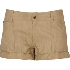 River Island Beige pu shorts ($15) ❤ liked on Polyvore