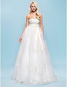 Lan Ting A-line/Princess Plus Sizes Wedding Dress - Ivory Floor-length Strapless Satin/Tulle
