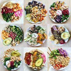 comment manger équilibré, assiettes plates, manger sainement, recette déjeuner sain, légumes et viande, poulet, salades