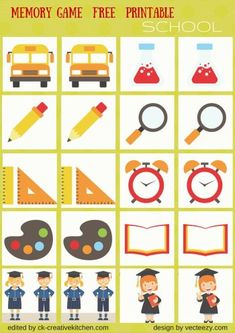 SCHOOL - #MEMORY GAME FREE PRINTABLES #PRESCHOOL