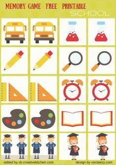 SCHOOL - #MEMORY GAME FREE PRINTABLES #PRESCHOOL