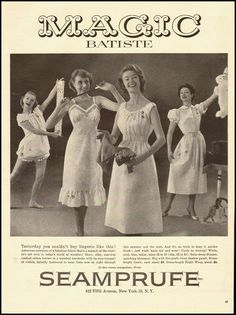 1954 Magic Batiste ad for slips, nightgowns and sleepwear. #vintage #1950s #lingerie #ads
