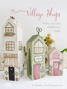 DIY ~ Shabbilicious Village Shops – Shabby Art Boutique All instructions and FREE pattern at the pin link. Wooden Crafts, Diy And Crafts, Arts And Crafts, Paper Crafts, Wood Projects, Woodworking Projects, Craft Projects, Woodworking Organization, Woodworking Lamp