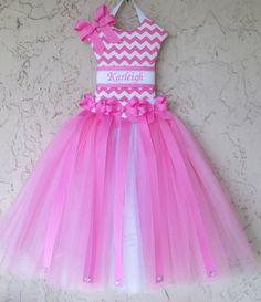 Hair Bow Holder Tutu Hot Pink Chevron 3 by MimisSewCuteBoutique