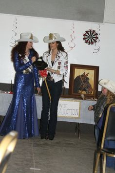 Left: blue sequin formal dress Right: Double D Indian white leather, sleeve jacket and QBaby Wrangler jeans. Sequin Formal Dress, Formal Dresses, Rodeo Queen, Southern Girls, Queen Dress, Wrangler Jeans, Cowgirls, White Leather, Oregon