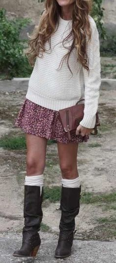 chunky floral skirt cozy sweater and boots knee high socks.