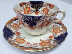 Allertons bone china tea cup and saucer in Imari colours, scalloped edge. Oozing Vintage style by CarianInteriors on Etsy