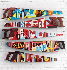 If It's Hip, It's Here: (Sub) Prime Cuts. Hand Painted Typography Saws by Vault 49