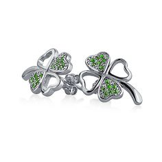 Bling Jewelry Bling Jewelry Four Leaf Clover Simulated Emerald Cz Stud... ($22) ❤ liked on Polyvore featuring jewelry, earrings, green, cubic zirconia earrings, clover stud earrings, silver earrings, green stud earrings and heart shaped earrings