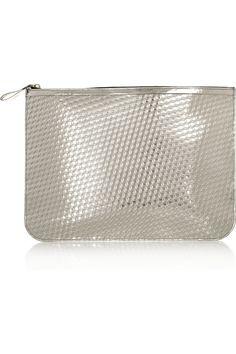 Pierre Hardy Embossed metallic leather clutch NET-A-PORTER.COM