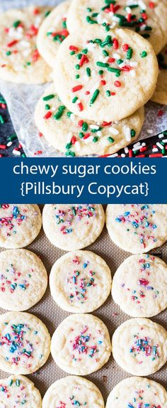 Soft, chewy sugar cookies that tastes just like Pillsbury. A quick under 30-minute cookie recipe with no refrigeration required. via /tastesoflizzyt/