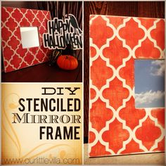 DIY Stenciled Mirror Frame with Graphic FREEBIE!  Just in time for Halloween!  from www.ourlittlevilla.com  Ikea Hack, MALMA, Halloween, Chalk Paint, Annie Sloan, Home Decor, Crafts
