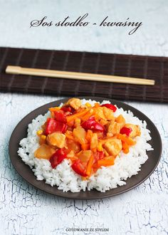 Chicken in sweet and sour sauce Good Food, Food And Drink, Sweets, Lunch, Chicken, Cooking, Recipes, Drinks, Sweet Pastries