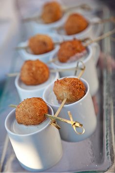 Blackstone Caterers will be catering my wedding!  Can't wait for these demi tasse of clam chowder with miniature clamcakes!