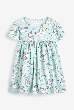 Shop for Aqua Unicorn Print Swimsuit at Next USA. International shipping and returns available. Buy now! Rajputi Dress, Unicorn Dress, Unicorn Print, Buy Dress, Uk Online, Floral Tops, Kids Fashion, Cover Up, Short Sleeves