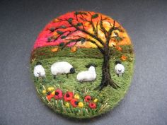 Handmade needle felted brooch/Gift     Red Sky at Night     by Tracey  Dunn