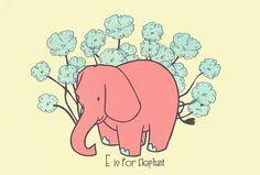 E is for Elephant, hand silkscreen printed nursery art print
