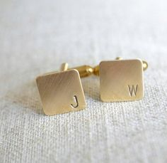 Personalized Mini Cufflinks - square brass hand stamped antique industrial inspired mens initial accessories