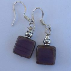 925 SS Purple Czech glass Handmade purple Czech glass with sterling silver hooks. New! Cindylou's Design Jewelry