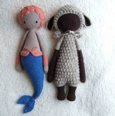MICI the mermaid & LUPO the lamb made by solveigg / crochet pattern by lalylala