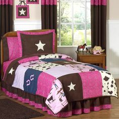Cowgirl pink and brown western comforter set