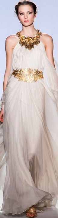 cream evening dress with gold belt and accessories by Zuhair Murad Haute Couture SS 2013