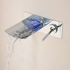 Uythner New Arrival Contemporary Waterfall Basin Sink Faucet LED Color Changing Mixer Tap Wall Mounted #Affiliate