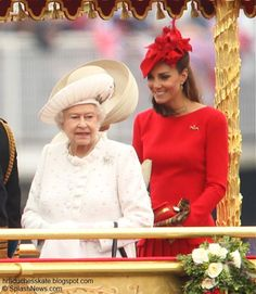 Duchess Kate: Lady in Red Kate Joins Senior Royals for The Thames Diamond Jubilee Pageant