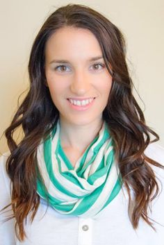 Green and Oatmeal Striped Infinity Nursing Scarf $20