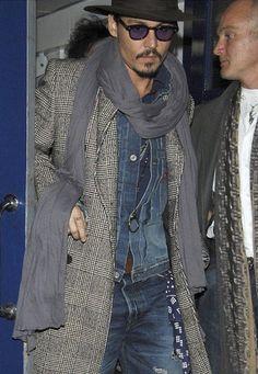 johnny depp style double denim hat sunglasss scarf boss men fashion