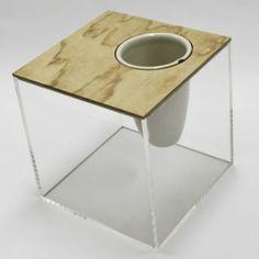 Soya Entry: CAJA El Tapar Side Table Lid Option 5 - Plywood - WIth Vase/wine cooler insert