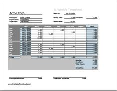 Weekly MultipleEmployee Timesheet Printable Time Sheets Free To