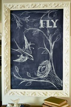 Make your own wall art on a chalkboard.