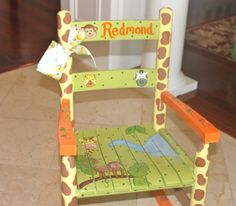 Custom Hand Painted Child's Rocking Chair by erinhisledesigns Painting Kids Furniture, Hand Painted Furniture, Vintage Furniture, Furniture Ideas, Diy Childrens Furniture, Rocking Chair Makeover, Wooden Rocker, Mckenzie And Childs, Painted Chairs