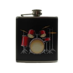Personalized Flask // 6oz Drum Set Flask for Men by thehairofthedog on Etsy