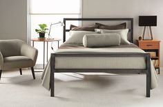 Metal bed frame with simple lines