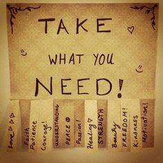 """This is so cool, i want to put Bible verses on the back and hang this outside of my dorm room!!! """"Take What You Need"""" Interactive Flyer- #reslife #ra"""