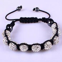 10mm White Crystals Macrame 9pcs Beaded Shamballa Ball Adjustable Bracelet Shamballa. $8.99. Macrame Bracelet. White Crystal. Adjustable. Save 55% Off!