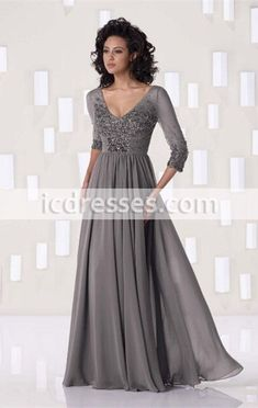 Modest 3/4 Sleeves Silver Gray Chiffon Beaded Long Mother Of The Bride Dresses 2016 Best Selling Gowns can custom made dresses