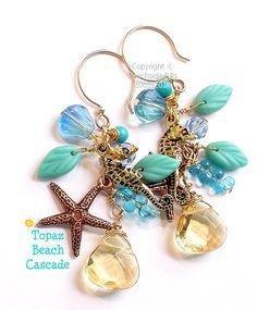 TOPAZ BEACH Cascade Artist Beachy Earrings 14k by BeachsideBits, $37.00