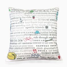 "Pillow - 18"" Wisconsin Bucket List"