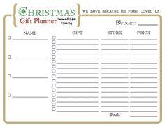 Christmas Gift Organizer Printable by DesiringVirtue on Etsy, $1.50