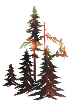 "30"" Pine Trees Forest Laser Cut Metal Wall Art"