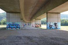 Graffiti-Open-Air-Walk @ Bridge Gallery Lörrach | subculture Freiburg Graffiti, Urban Street Art, Bridge, Walking, Gallery, Freiburg, Roof Rack, Bridge Pattern, Bridges