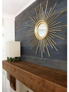 Como fazer um espelho decorativo com palitos de madeira e tinta dourada para uma decoração incrível ~ VillarteDesign Artesanato