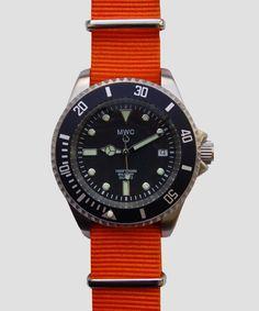 MWC 300M Quartz Submariner Watch Orange Nato Strap