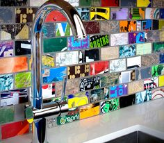 Would you believe if I told you these fabulous backsplash tiles are made from...broken skateboards?