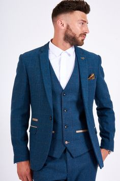 Mens formal and modern suits and outfits by Marc Darcy at Goodfellows Menswear based in Carlisle serving Cumbria, Gretna, The Lakes and Scottish Borders. Blue Tweed Wedding Suits, Blue Tweed Suit, Mens Tweed Suit, Tweed Suits, Vintage Wedding Suits, Blue Suit Groom, Tweed Waistcoat, Vintage Weddings, Tweed Blazer