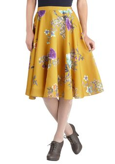 Pretty yellow floral skirt for when the Waco warmth returns... This length is so hard to find! Ikebana for All Skirt, #ModCloth