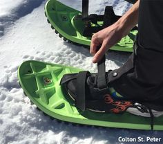 The technology of snowshoes continues to evolve. You just might see snowshoes such as these at the Colorado State Snowshoe Championships.
